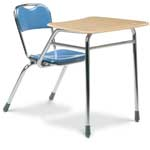 Hard Plastic Chair Desk with Bowfront Top