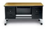 Double Pedestal Teachers Desk with Center Drawer