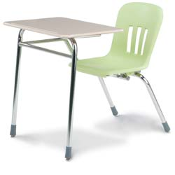 Soft Plastic Chair Desk with Rectangular Hard Plastic Top